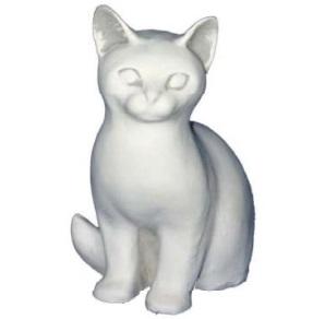 Fehér ülő cica kerti szobor